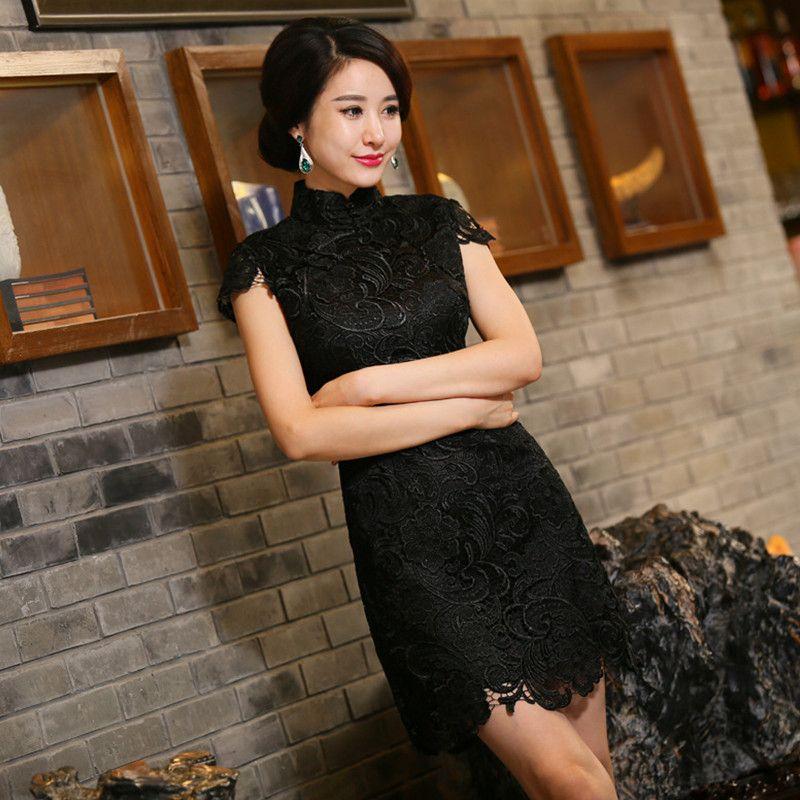 Nueva Llegada Chino Tradición Mandarina Cuello de Encaje Bordado de Las Mujeres Mini cheong-sam Qipao Sml XL XXL TZM2015014