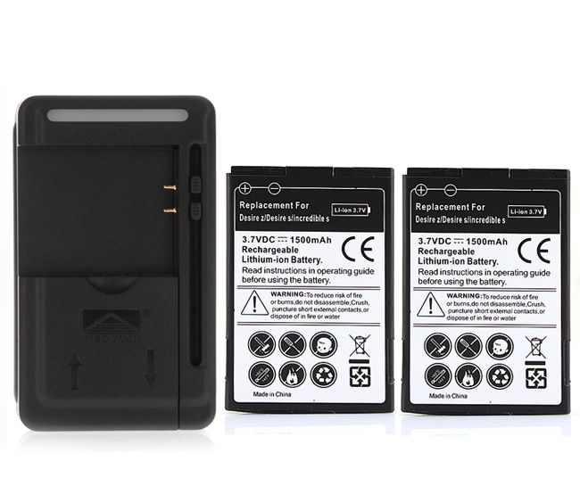 2PCS 1500mAh Replacement battery with charger for HTC Desire 2 Z S Saga G11 incredible S G12 S510e