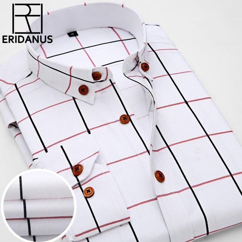 <font><b>2016</b></font> New Oxford Plaid Casual Men's Shirt Slim Fit Formal&Business Occupation Man Shirts Spring Long Sleeve Men Dress Shirt M038