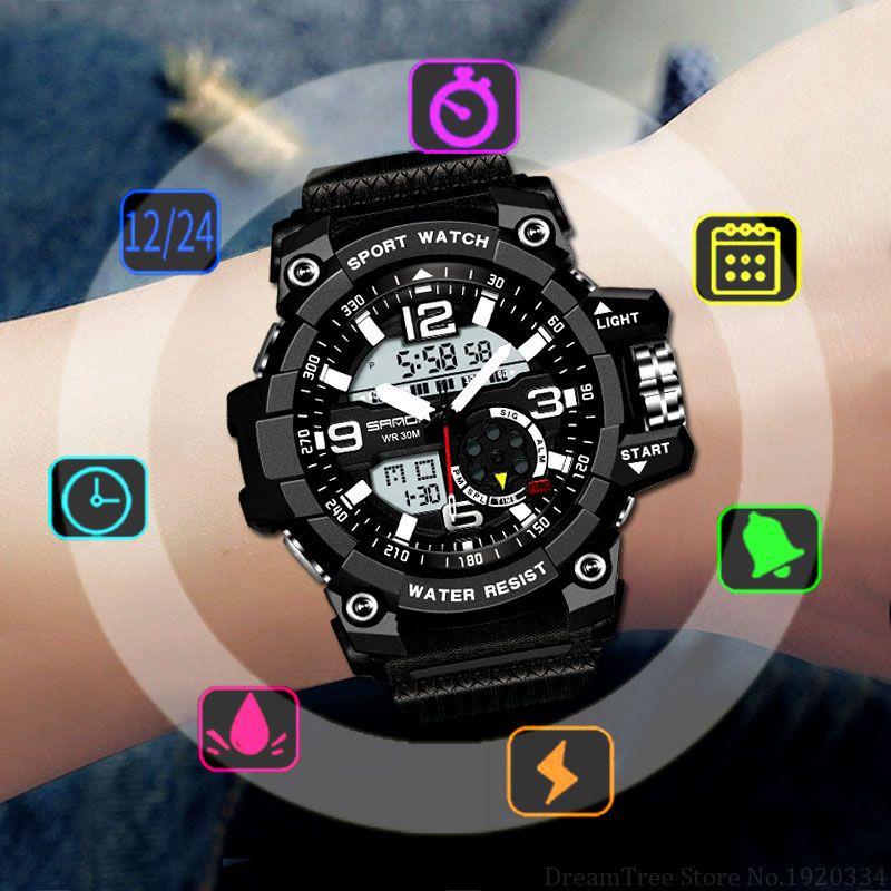 SANDA Military Sport Watch Men Top Brand Luxury Famous Electronic LED Digital Wrist Watch Male Clock For Man Relogio Masculino
