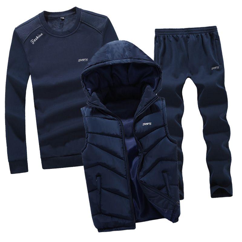 AmberHeard 2018 New Fashion Herbst Winter Herren Sport Anzug Hoodie Weste + Sweatshirt + Pant Sportkleidung 3 Stück Set Trainingsanzug für Männer