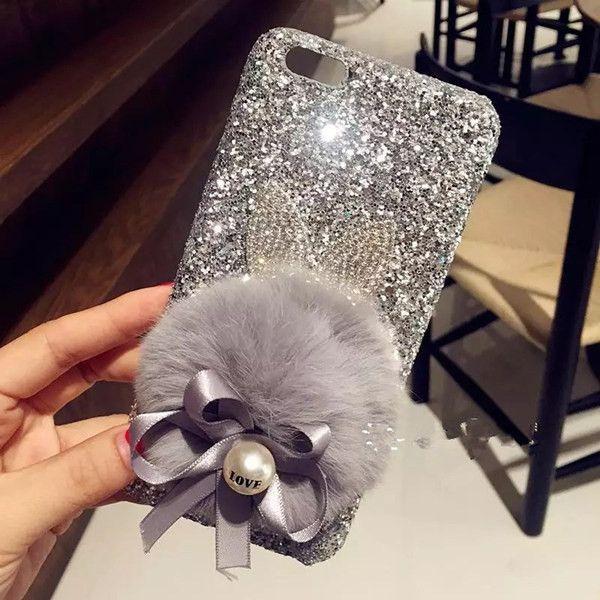 Pour iPhone 6 6 S 7 Plus De Luxe Glitter Fille de Mode Bling Oreille Queue mignon Arc De Fourrure De Lapin Boule dur Téléphone case Quatrième De Couverture À La Main