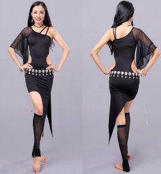 Gadis Tari Perut Tahap Kostum Gaun Latin Gaun Rok Panjang Yoga Suit Mahasiswa Pelatihan Ballroom Dancing Party Wear