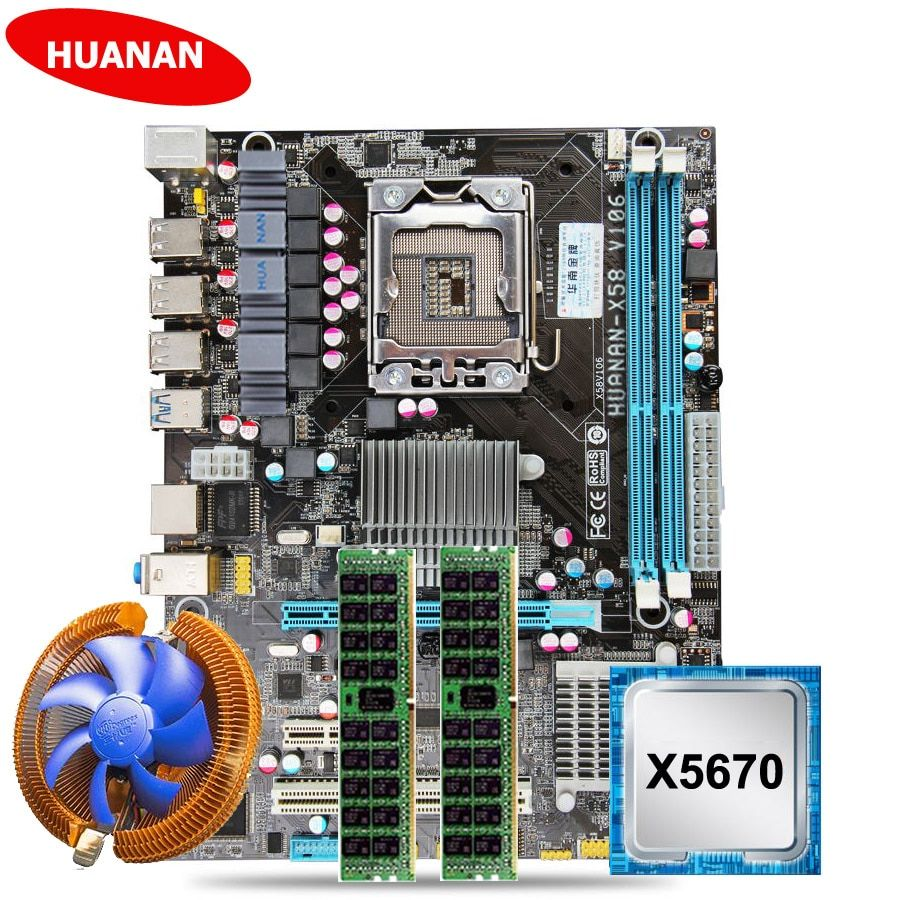 Hot HUANAN X58 motherboard CPU RAM set with CPU cooler USB3.0 X58 LGA1366 motherboard CPU Xeon X5670 RAM (2*8G)16G DDR3 RECC