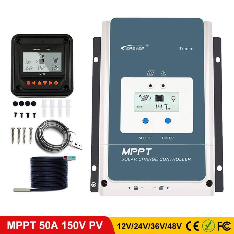 EPever 50A MPPT Laderegler 48 V/36 V/24 V/12 V Max 150V 2500W Eingang Negative Boden Fit Agm Gel Flooded LCD