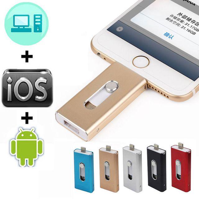 OTG lecteur Flash Usb 128GB 16G 32G 64GB lecteur de stylo HD mémoire de stockage externe bâton pour iphone 7 7plus 6 6s Plus 5S ipad clé Usb