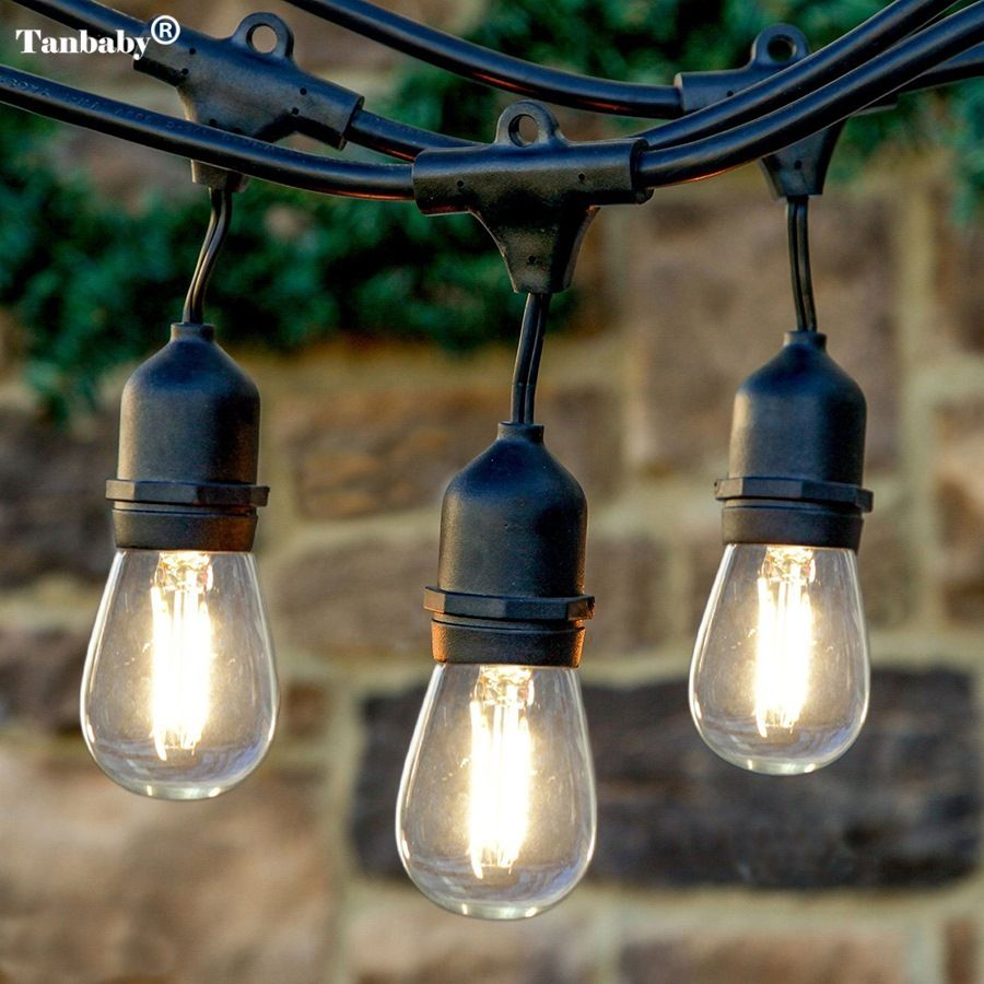 Tanbaby 10M 15M 10pcs 2W LED Waterproof E26/E27 String Lights Indoor/ Outdoor Street Garden Patio Backyard Holiday String Lights