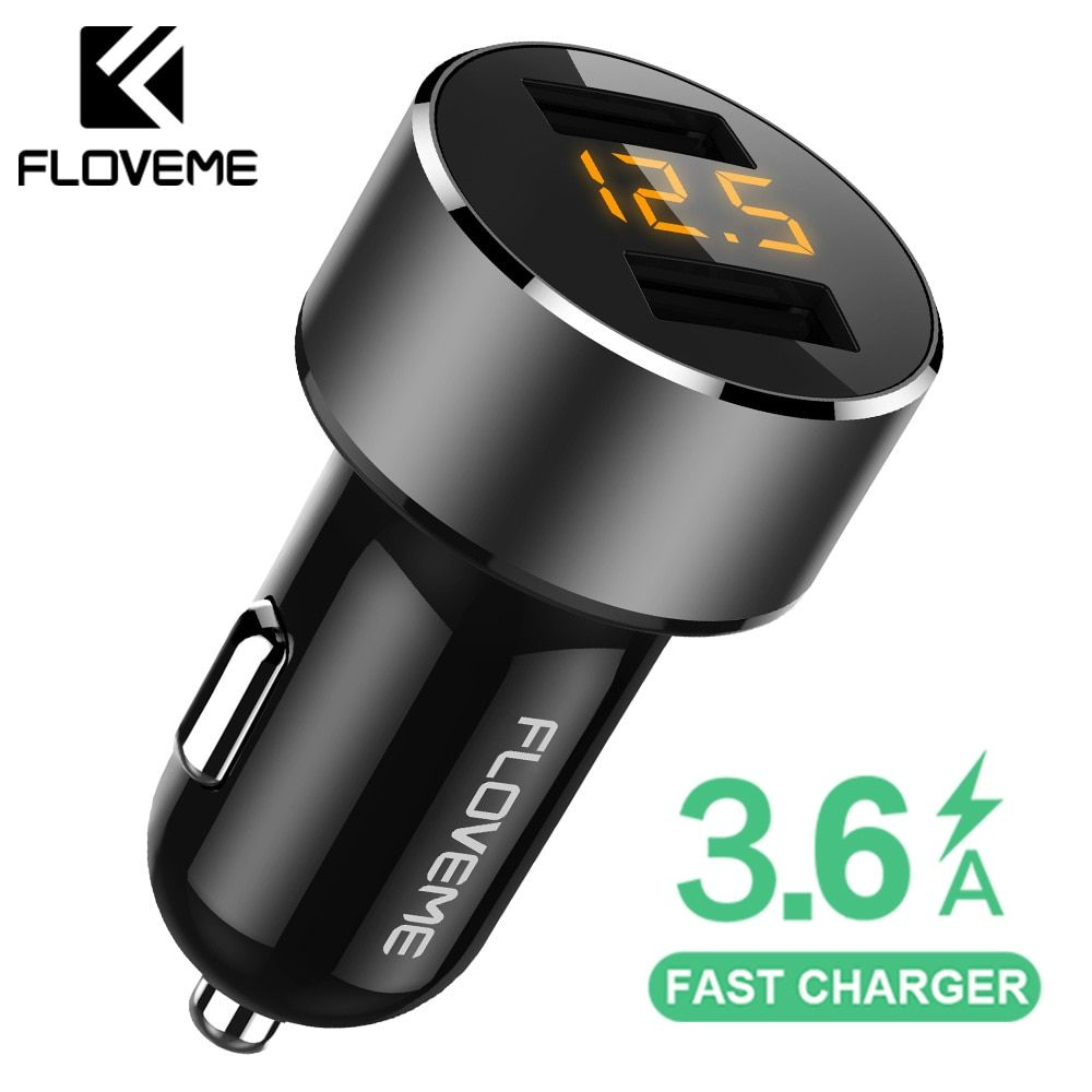 FLOVEME 18W USB Car Charger For iPhone Xiaomi Dual Port Car Chargeur Charger USB 3.6A Fast Charging Car Charger For Mobile Phone