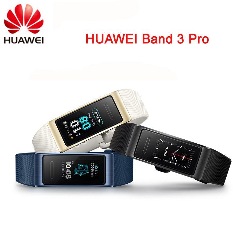 Original Huawei Band 3 Pro Smartband GPS Metal Frame Amoled Full Color Display Touchscreen Swim Stroke Heart Rate Sensor Sleep