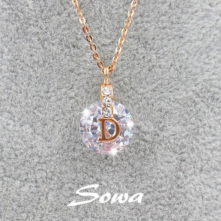 Venta caliente Famosa Marca de Diseño de la Rosa con 10mm Cubic Zirconia Piedra Colgante de Collar, collar de cadena para las mujeres
