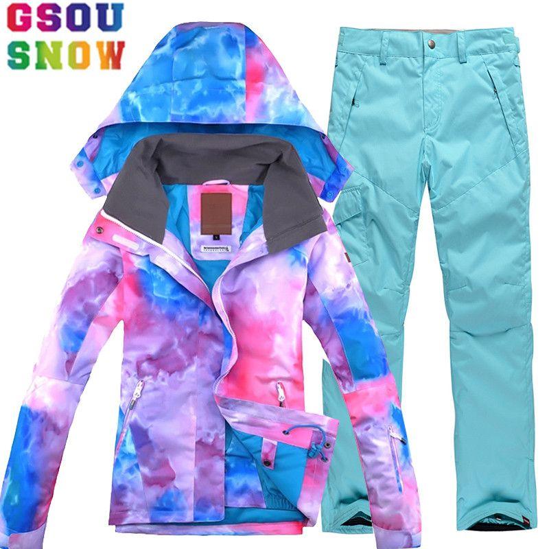 Marke GSOU SCHNEE Skianzug Frauen Ski Jacke Snowboard Hosen Winter Wasserdichte Mountain Ski Anzug Billig Outdoor-bekleidung