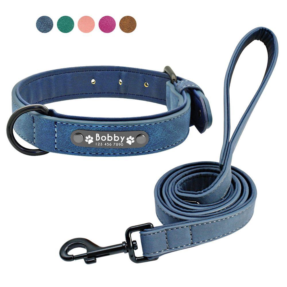 Colliers de chien personnalisés en cuir personnalisé chien étiquette collier laisse plomb pour petits chiens moyens grands Pitbull Bulldog carlins Beagle