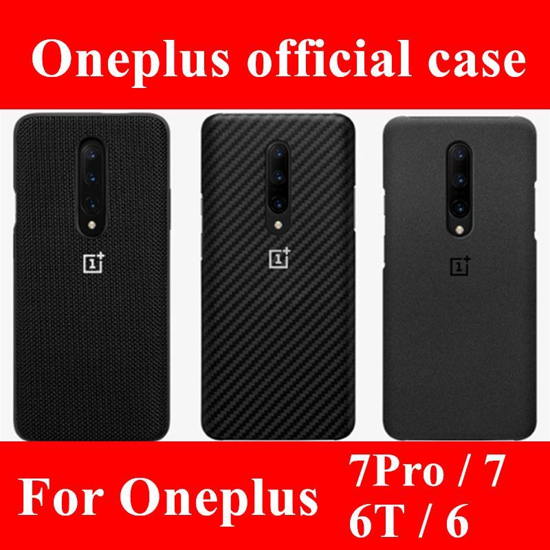 100% couverture arrière officielle en silicone de grès pour OnePlus 6T 6 7 pro étui de protection accessoires d'origine pare-chocs en Nylon karbon