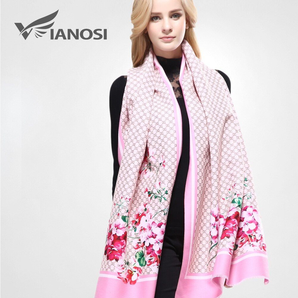 [VIANOSI] Newest Design Wool Scarf Woman Bandana Printing Winter Shawls and Scarves Women Warm Wrap Brand Scarf VA078