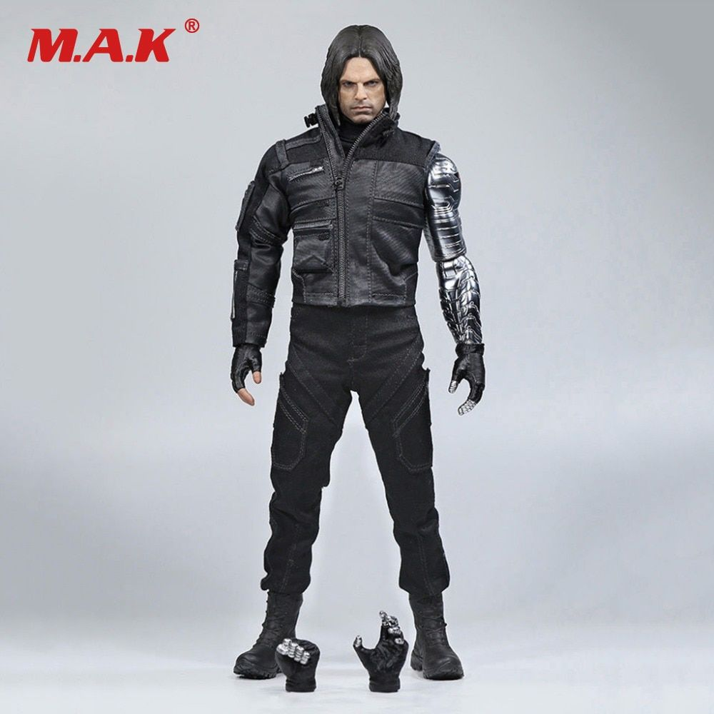 Pre order 1/6 Winter Soldier Bucky Barnes With Mechanical Arm Captain American Civil War Action Figure Combat Suit Version Box