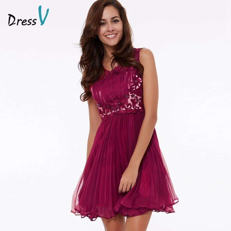Dressv light plum beaded lace homecoming dress scoop neck A-line sleeveless above knee homecoming dress short graduation dress