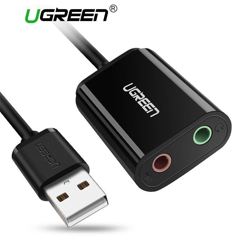 Ugreen Carte Son Externe 3.5mm USB Adaptateur USB à Microphone Haut-Parleur Audio Interface pour PS4 Pro Ordinateur USB Son carte