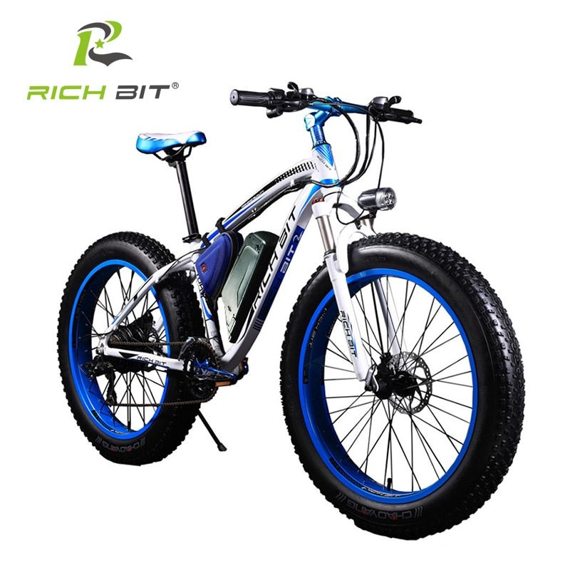 RichBit New Super Ebike Powerful Electric Snow Bike 21 Speed Ebike 48V 1000W Electric Fat Tire Bike With 17AH Lithium Battery