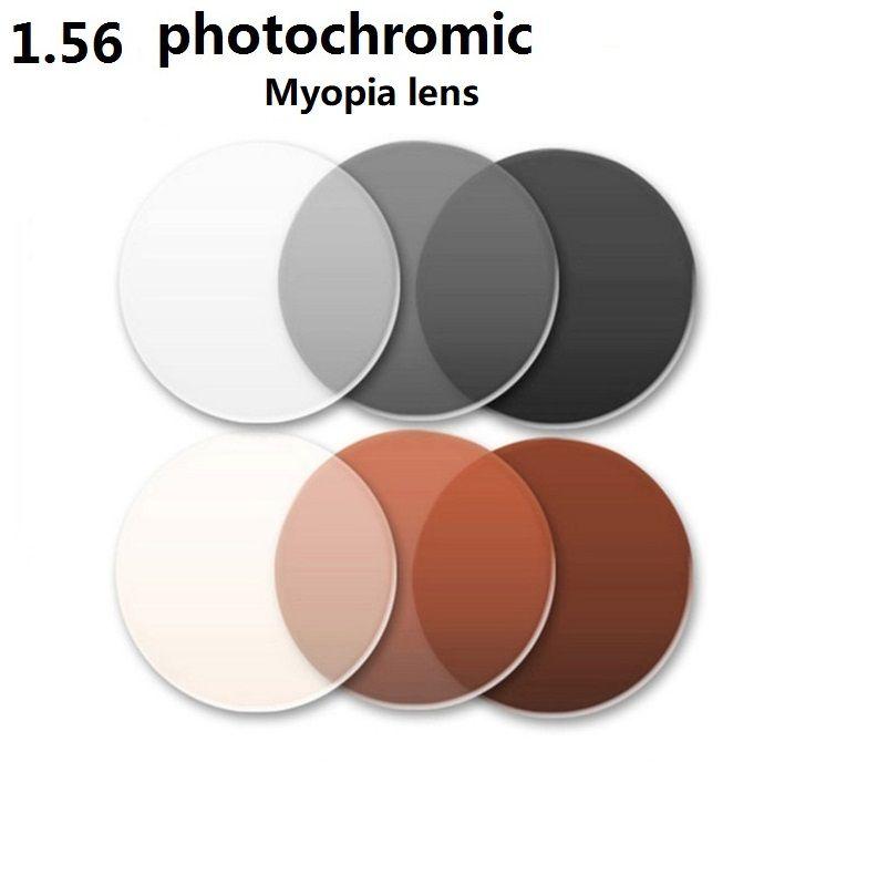 1.56 Asphérique photochromique brun gris marque myopie eyglasses lentilles couleur film résistant à l'usure enduit Anti-planification lentilles de résine