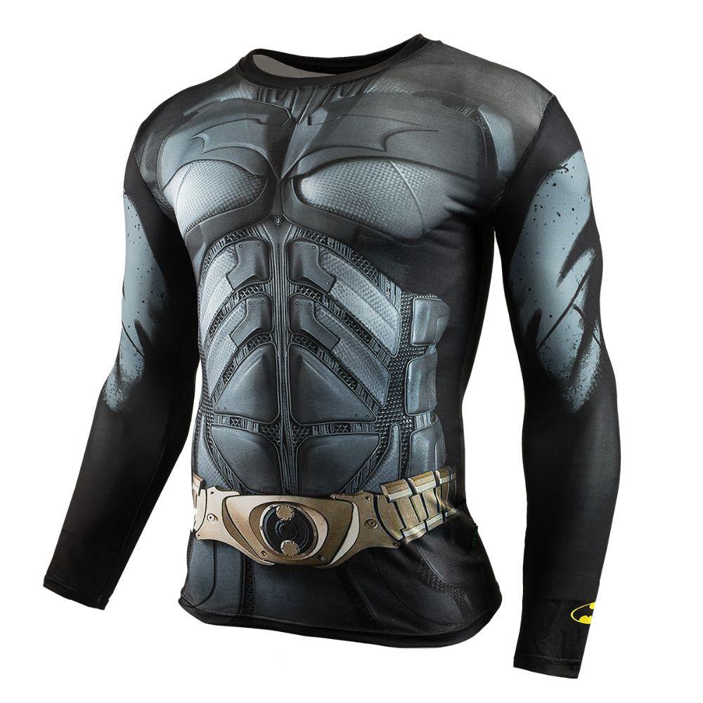 Hommes Crossfit À Manches Longues Compression Chemise 3D Anime Super-Héros Superman Captain America T-shirt Collants Fitness Hommes Tops & T-shirts
