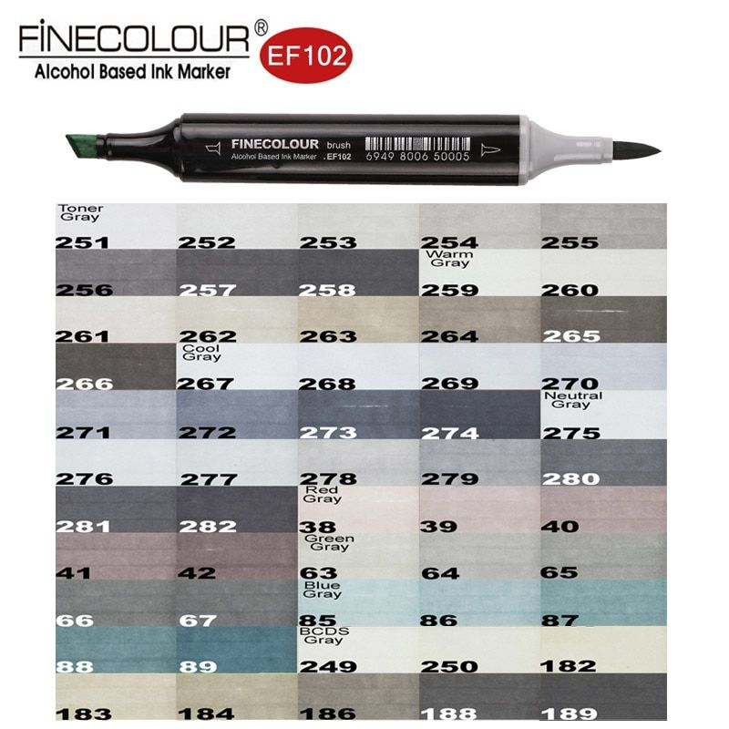 Finecolour EF102 Brush Grayscale Art Marker Flexible Soft Tip Pens 5/8/55pc Dual Cool/Warm/Natural/Tone Gray Markers Draw Render