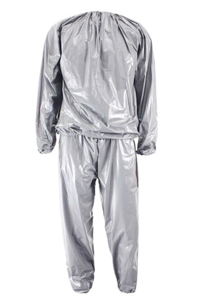 Heavy Duty Fitness Weight Loss Sweat Sauna Suit Exercise Gym Anti-Rip Silver L