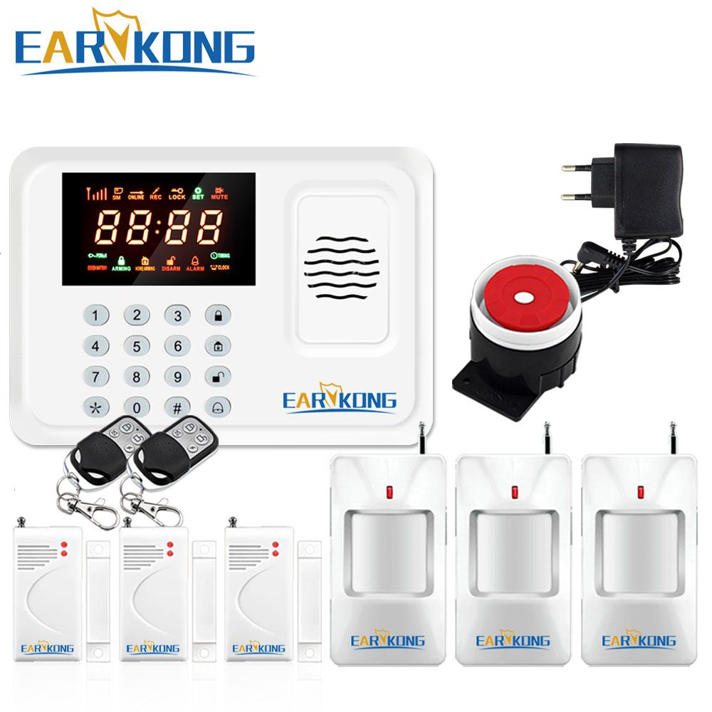 Security Protection Wireless <font><b>433MHz</b></font> GSM Alarm System White Color Home Burglar Alarm System Inside Antenna Keyboard Motion Sensor