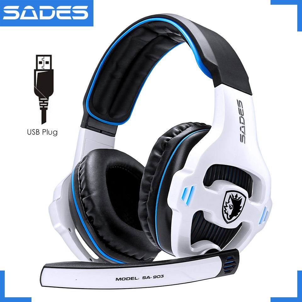 SADES SA-903 High-Performance 7.1 USB PC Headset Deep <font><b>Bass</b></font> Gaming Headphones With LED Micphone For Games Player