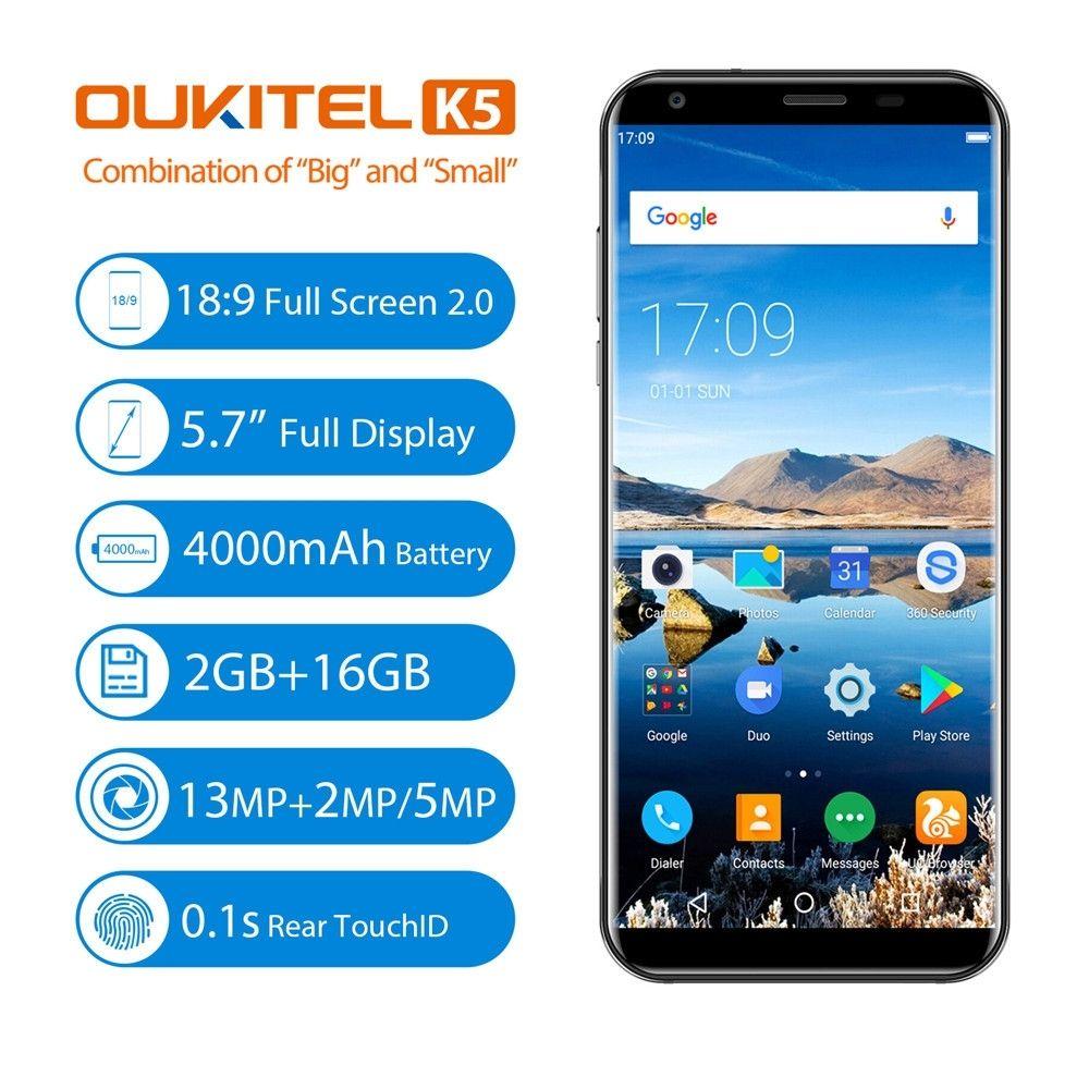 OUKITEL K5 5.7''Ultrathin Android7.0 Quad-core 2G+16G 4G Unlocked SmartPhone Apr18