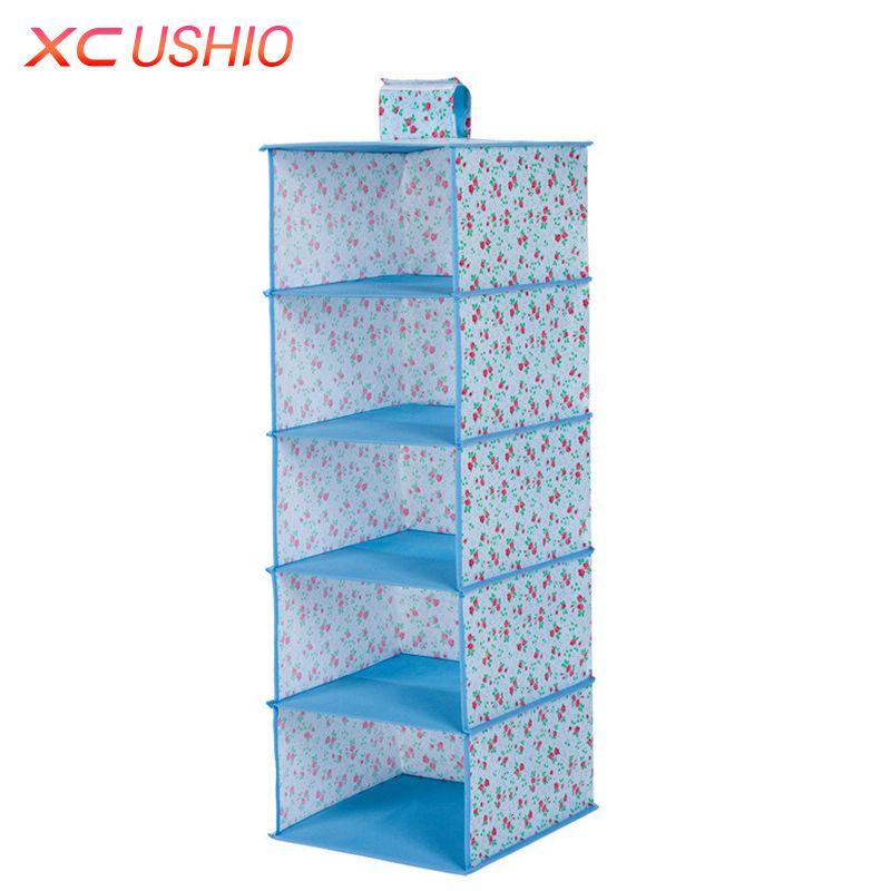 Multilayer Wardrobe Hanging Storage Bag Moistureproof Clothes Toys Storage Organizer Magic Tape Closet Container Box