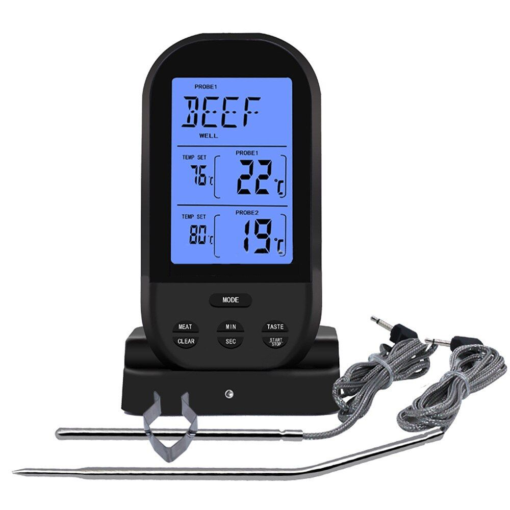 Wireless Remote Digital Cooking Food Meat Thermometer Dual Probe For BBQ Grill Oven Smoker