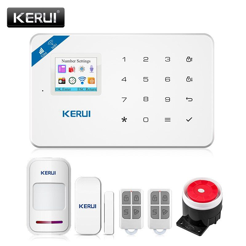 KERUI W18 1.7 <font><b>Inch</b></font> TFT Screen WIFI GSM Home Burglar Security Alarm System Motion Detector APP Control Fire Smoke Detector Alarm