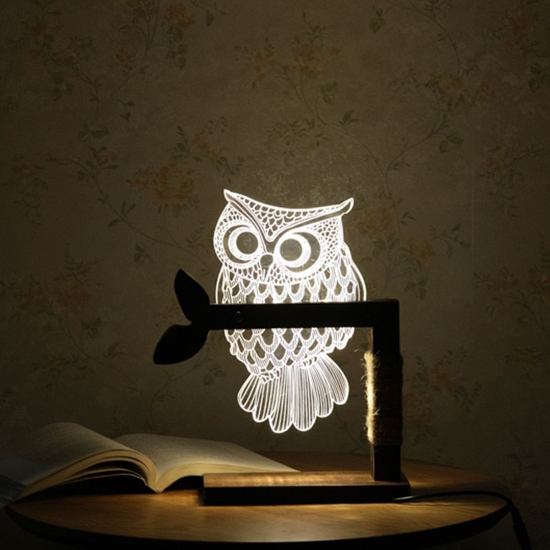 LED Wooden Owl 3D Nightlight Visual Led Night Lights for Home Desk Night light for Child Gift USB Table Lamp Nightlight IY804001