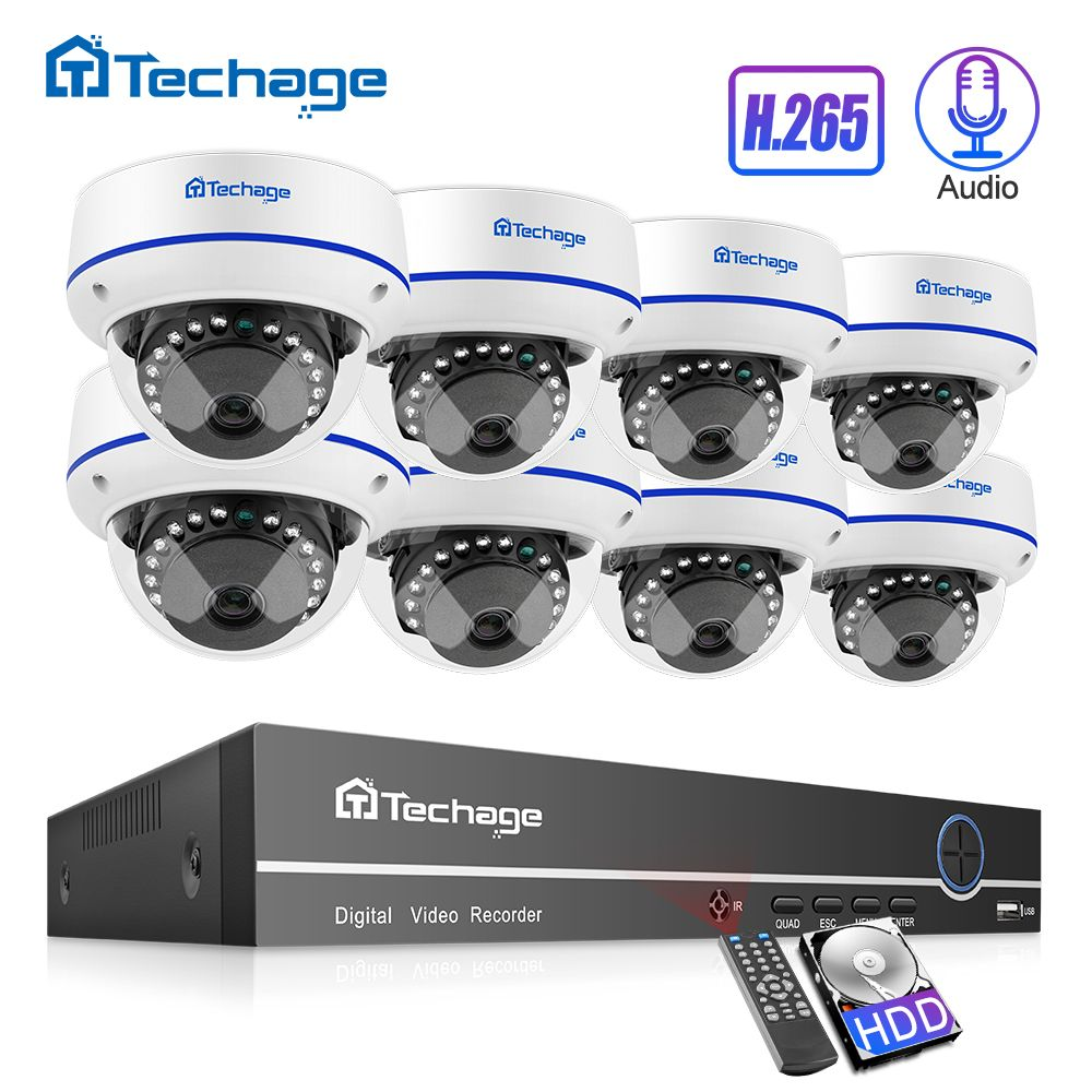 Techage H.265 8CH 1080P POE NVR Kit CCTV Sicherheit System 2MP Audio Record Sound Indoor Dome IP Kamera P2P video Überwachung Set