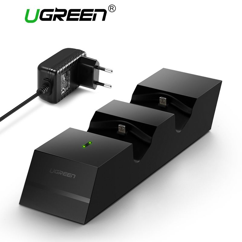 UGREEN PS4 Controller Charger Double Handle Wireless Chargers Dual USB Charging Dock Station Stand for Playstation 4 /PS4 pro