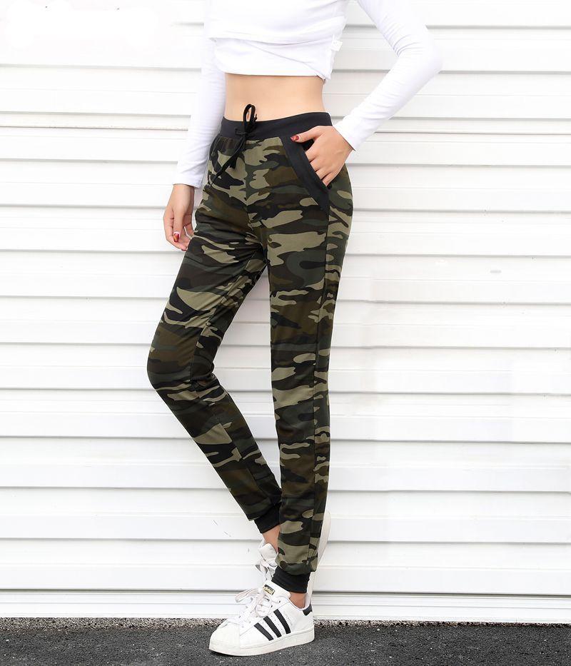 Camouflage Joggers femmes pantalons de survêtement Harem Camo pantalon cordon communautones femme Mujer lâche Calca femme taille haute poche