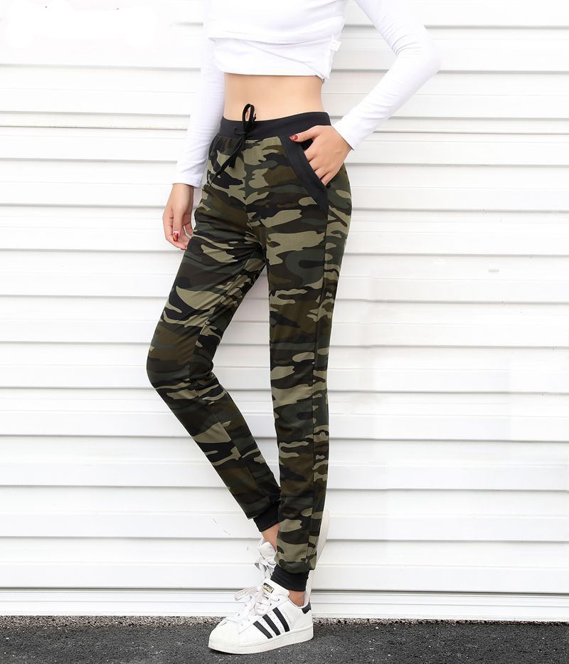 Camouflage Joggeurs Femmes Pantalon Harem Camo Pantalon Cordon Pantalones femme Mujer Lâche Calca Féminin Taille Haute Poche