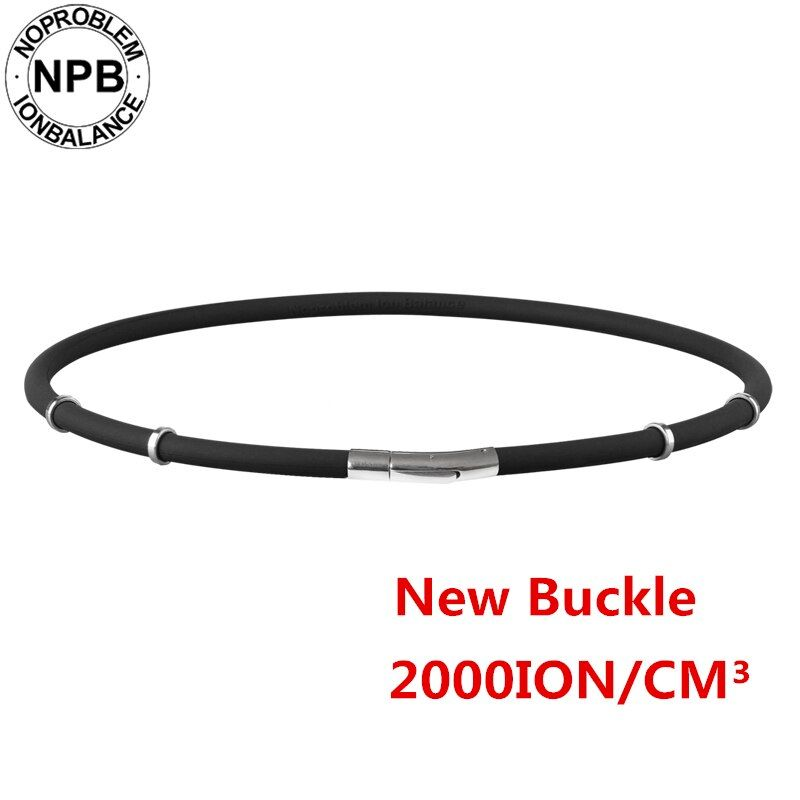 Noproblem 058 noir étanche ion balance thérapie santé neck pain relief sport silicone tourmaline germanium collier