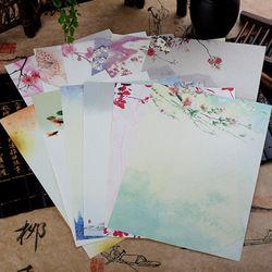 8 pcs Chinois Style Enveloppes Vintage Fleurs Décoration Papier à Lettres Lettre Ensemble Pour Étudiant Bureau Fournitures Scolaires Papeterie