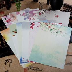 8Sheet Chinese Style Envelopes Vintage Flowers Decoration Writing Paper Letter Set For Student Office School Supplies Stationery