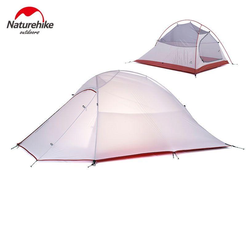 1.2 KG Naturehike Tente 20D Silicone Tissu Ultra-Léger 2 Personne Double couches En Aluminium Tige de Camping Tente 4 Saison Avec 2 Personne tapis