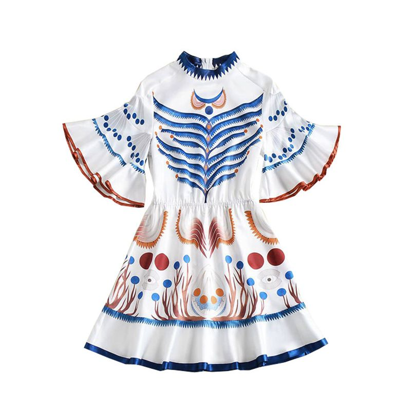 HIGH QUALITY New Fashion 2018 Designer Runway Dress Women's Butterfly Sleeve Chic Printed Dress