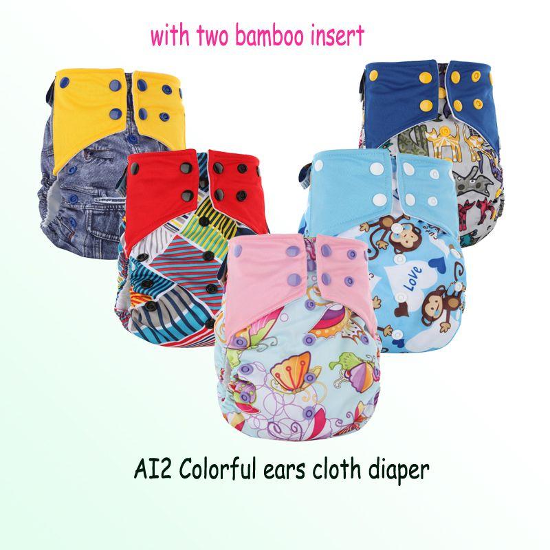 Livraison gratuite Pororo EA2 PUL imprimé diaper Cover avec Séjour suédine sec intérieure, tout en deux bébé réutilisable couches lavables couches