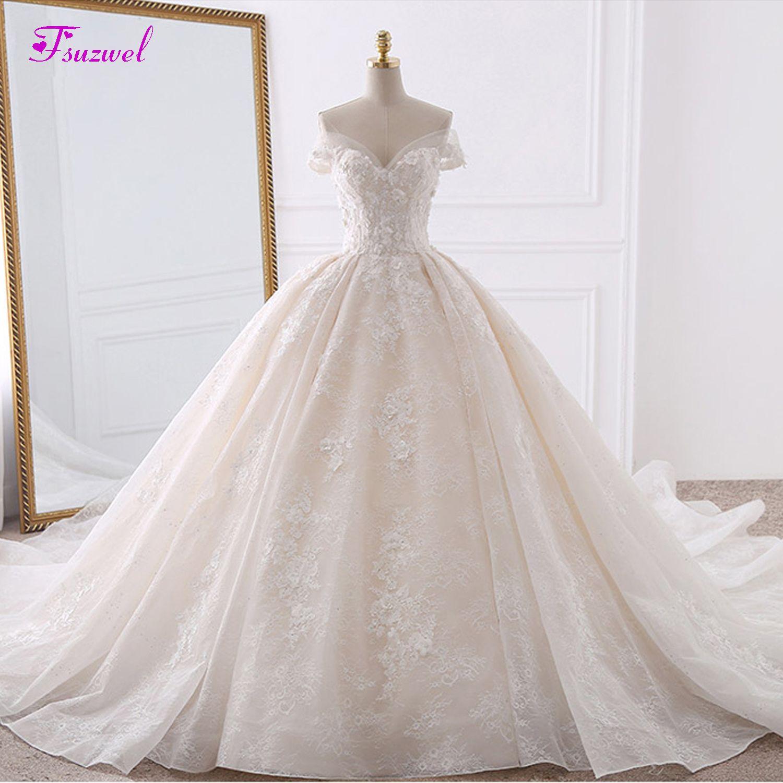 Vestido de Noiva Appliques Spitze Blumen Prinzessin Hochzeit Kleider 2019 Schatz Hals Perlen Königlichen Zug Ballkleid Braut Kleid