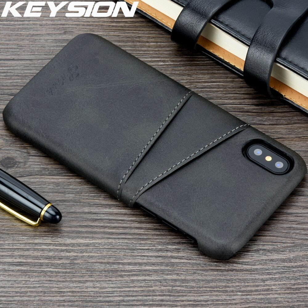 KEYSION Slim Luxury PU Leather For iPhone XS MAX XR Case Back Cover Protective Card Holder For iPhone XS MAX XR X 8 7 Plus Case
