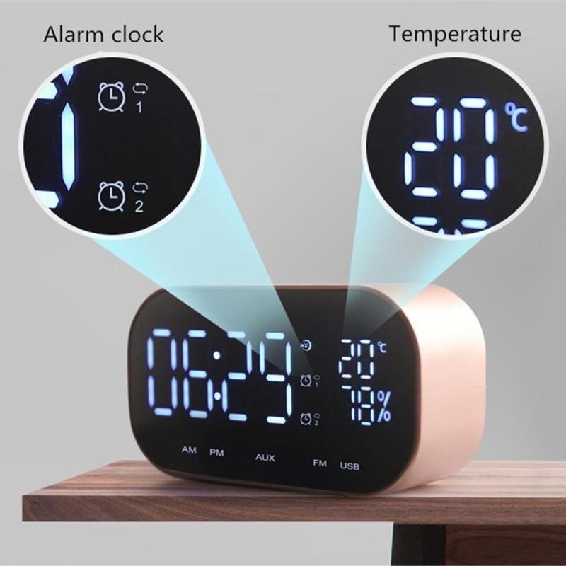 Mni Bluetooth Lautsprecher Unterstützung Temperatur LCD Display FM Radio TF Wecker Datum Display 3D Stereo Musik Surround