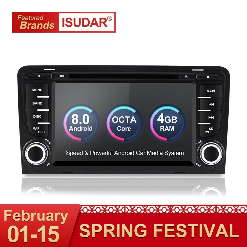 Isudar Auto Multimedia player Android 8.0 GPS 2 Din Autoradio Stereo System Für Audi/A3/S3 Octa Core 4 GB RAM wifi Auto DVD Player