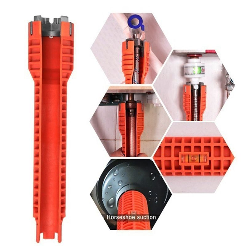 Nouveau robinet et évier clé à Installer poignée antidérapante Double tête clé outil Extra-long conception clé outils