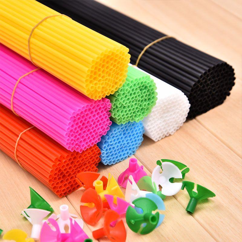 Nouveau Haute qualité ballon bâton 100 pcs/lot blanc noir 8 couleur 27 cm ballons PVC tiges pour soutien ballon bâton