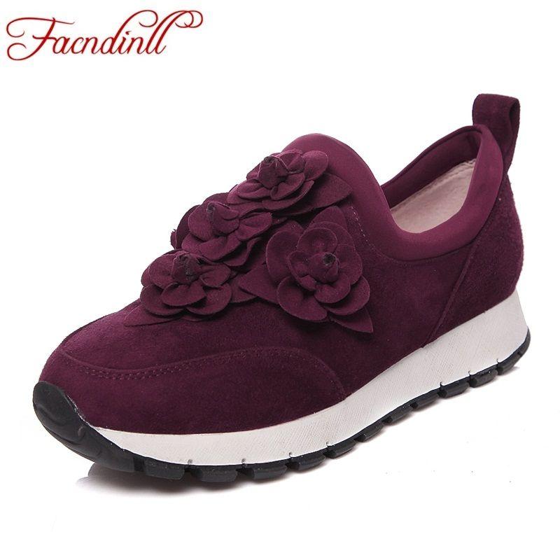 FACNDINLL nouveau 2017 de mode femmes appartements chaussures en cuir véritable automne femmes noir rouge casual chaussures talons plats sneaker printemps chaussures